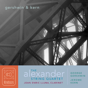 Cover art for Gershwin & Kern with black and white photo of overlapping columns, photo by Rory Earnshaw